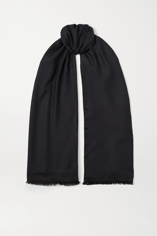 SAINT LAURENT Tuch aus Jacquard aus einer Seiden-Wollmischung mit Fransen