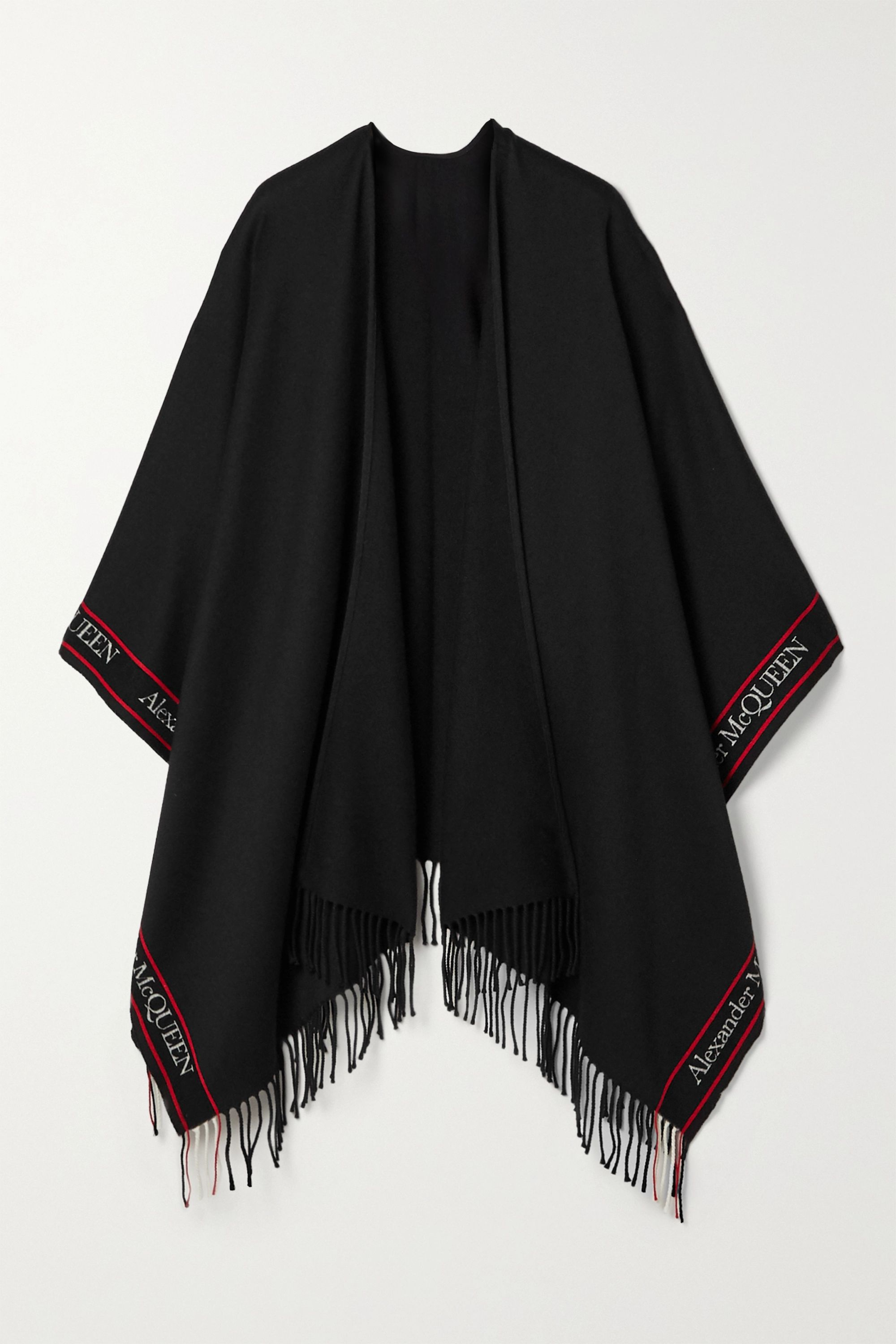 Alexander McQueen Fringed jacquard-trimmed wool and cashmere-blend poncho
