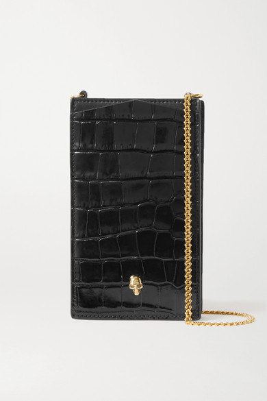Alexander McQueen - Embellished Glossed Croc-effect Leather Phone Case