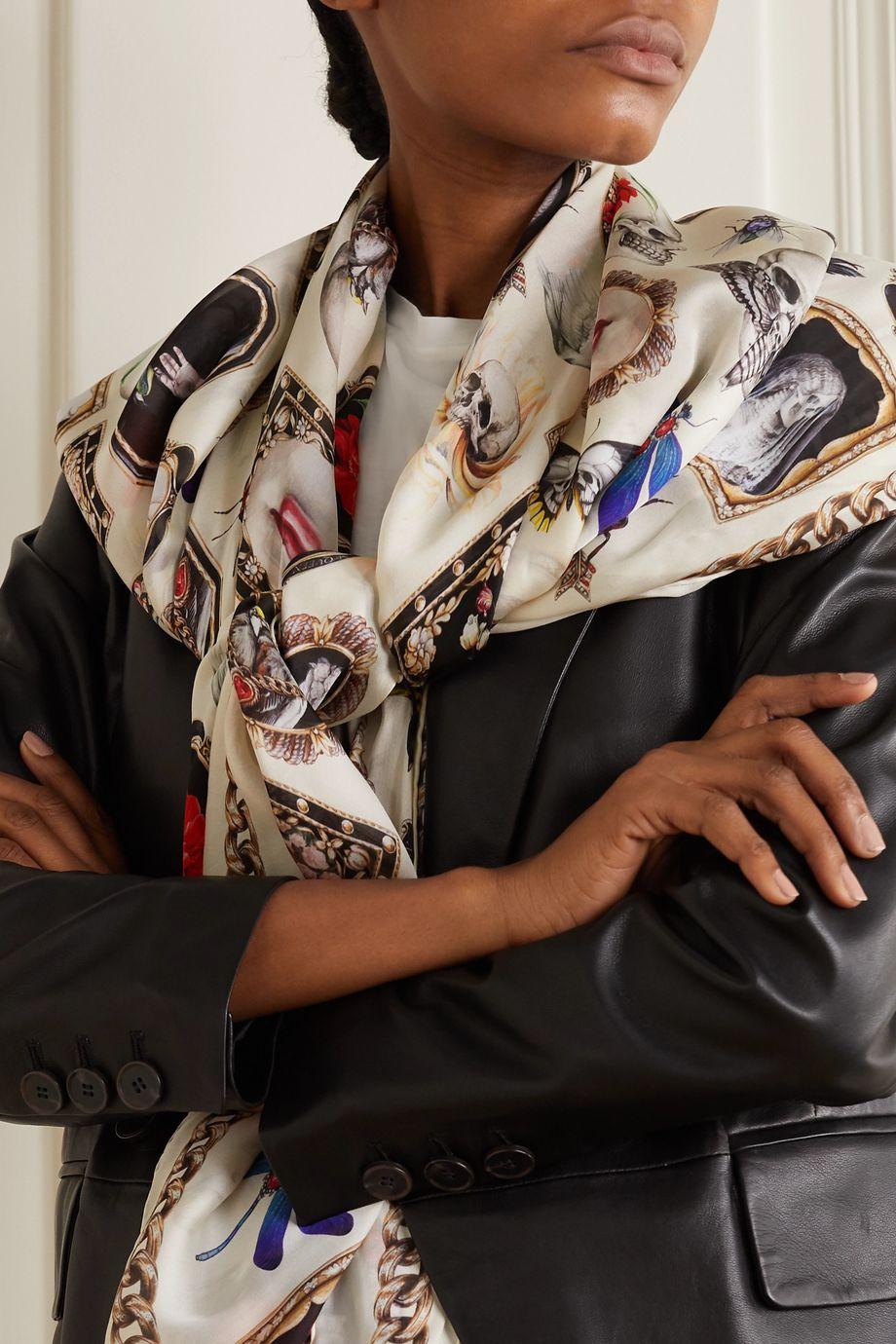 Alexander McQueen Printed silk-chiffon scarf
