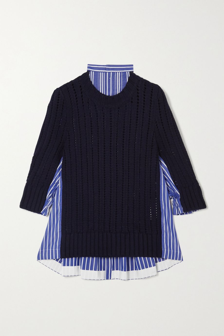 Sacai Paneled striped cotton-poplin and ribbed wool sweater
