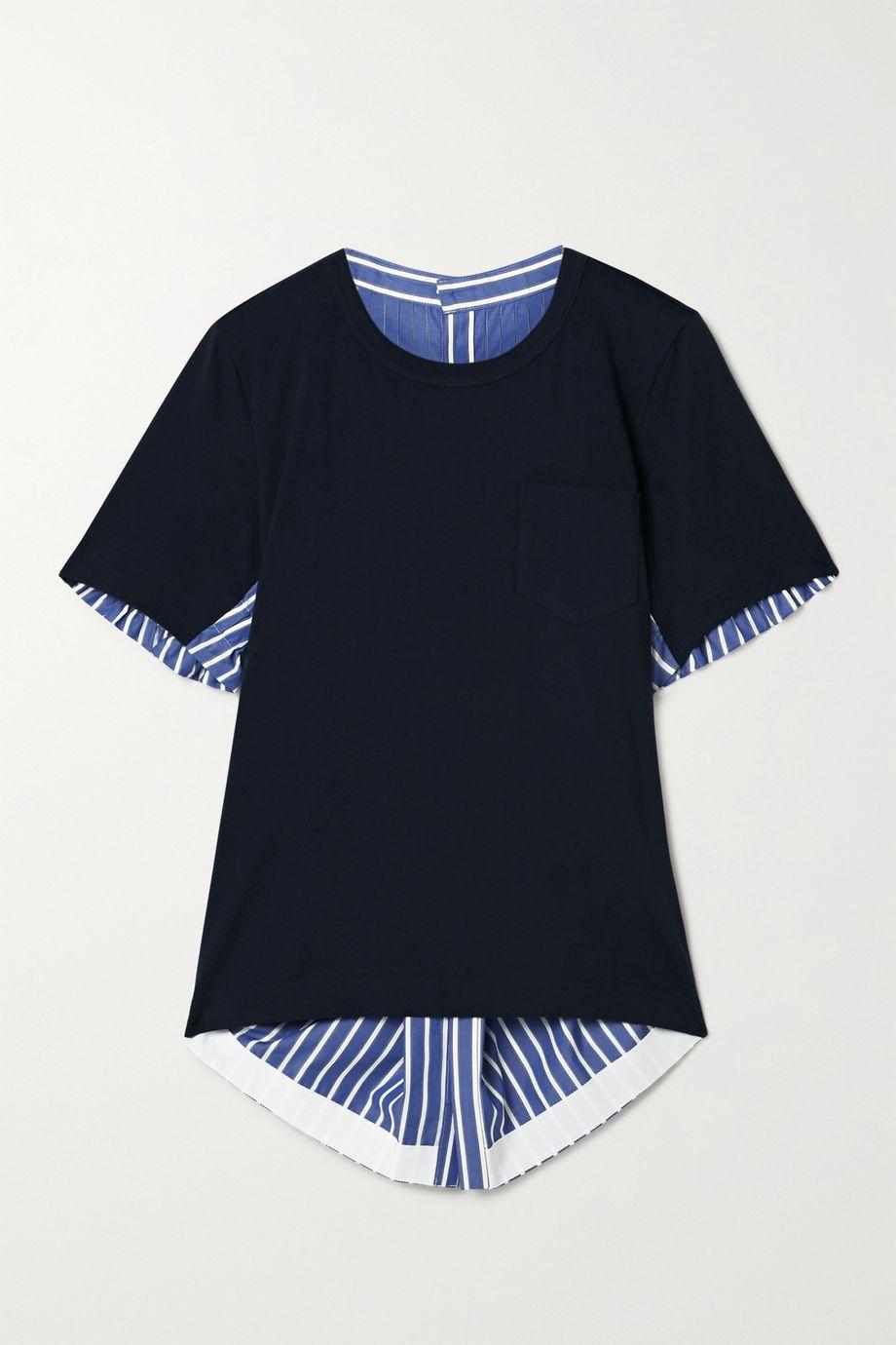 Sacai Asymmetrisches Oberteil aus Baumwollpopeline und Jersey mit Streifen