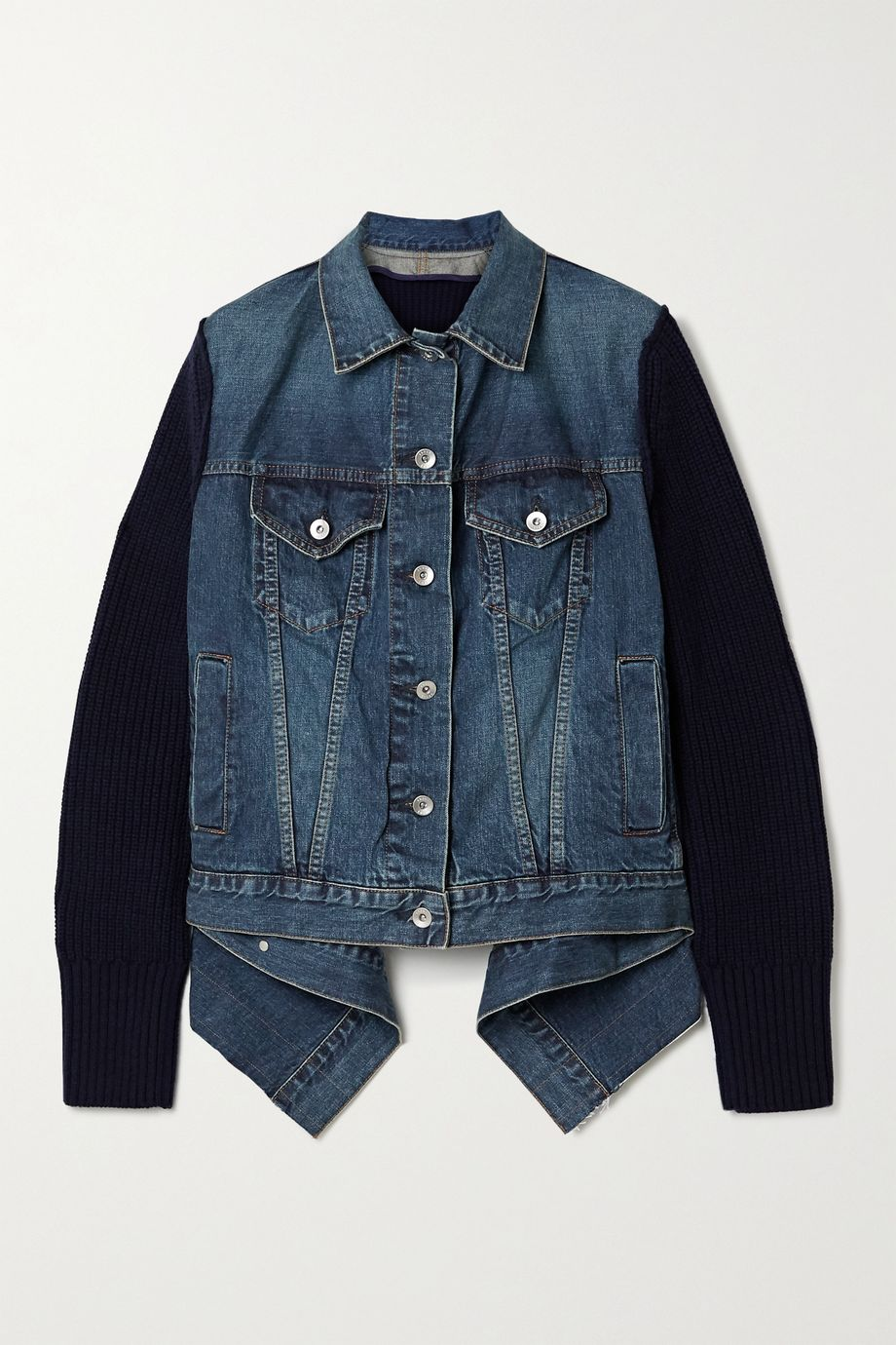 Sacai Asymmetric shell-trimmed paneled denim and ribbed wool jacket