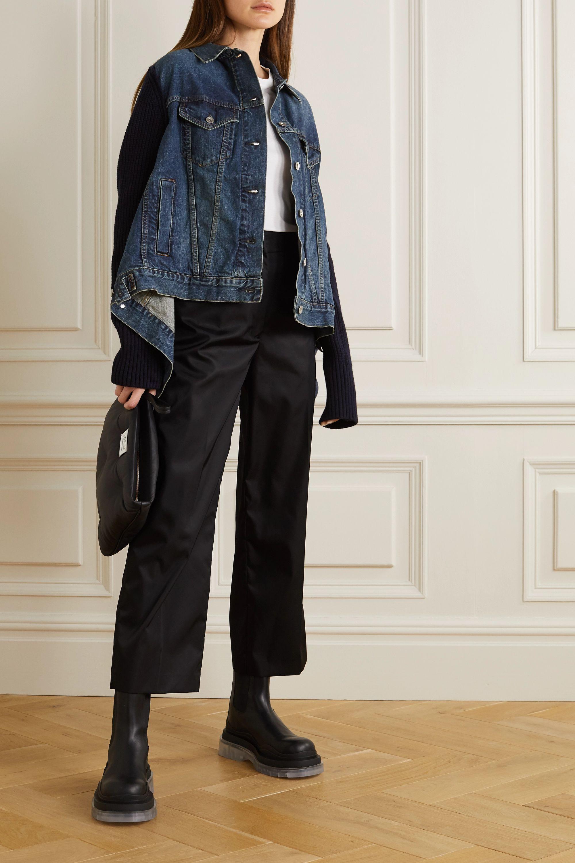 Sacai Veste asymétrique en jean et en laine côtelée à finitions en tissu technique