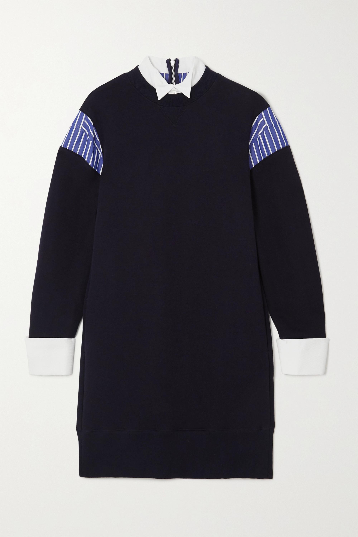 Sacai Layered poplin-paneled cotton-blend jersey mini dress