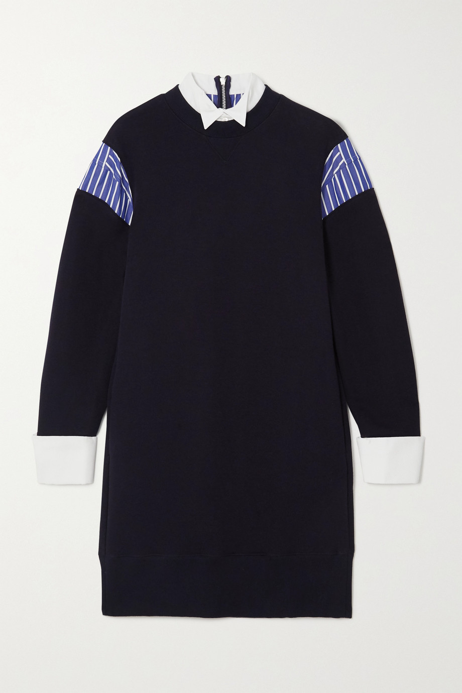 Sacai Layered poplin-paneled cotton-blend jersey mini dress