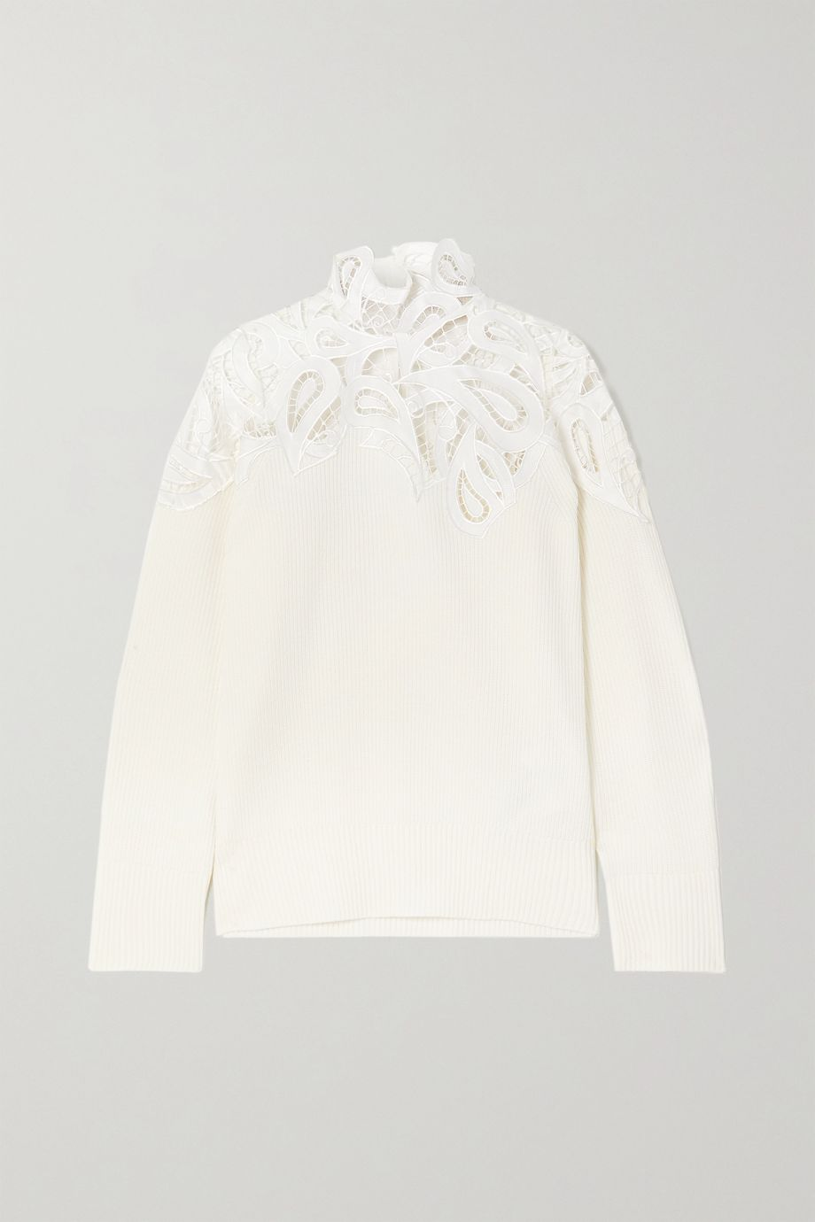 Sacai Corded lace and ribbed cotton-blend sweater