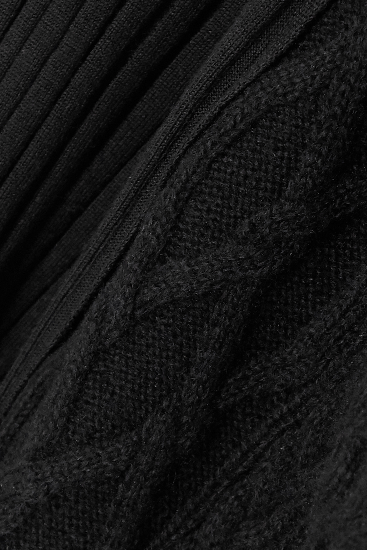 Sacai Cutout paneled ribbed and cable-knit wool sweater