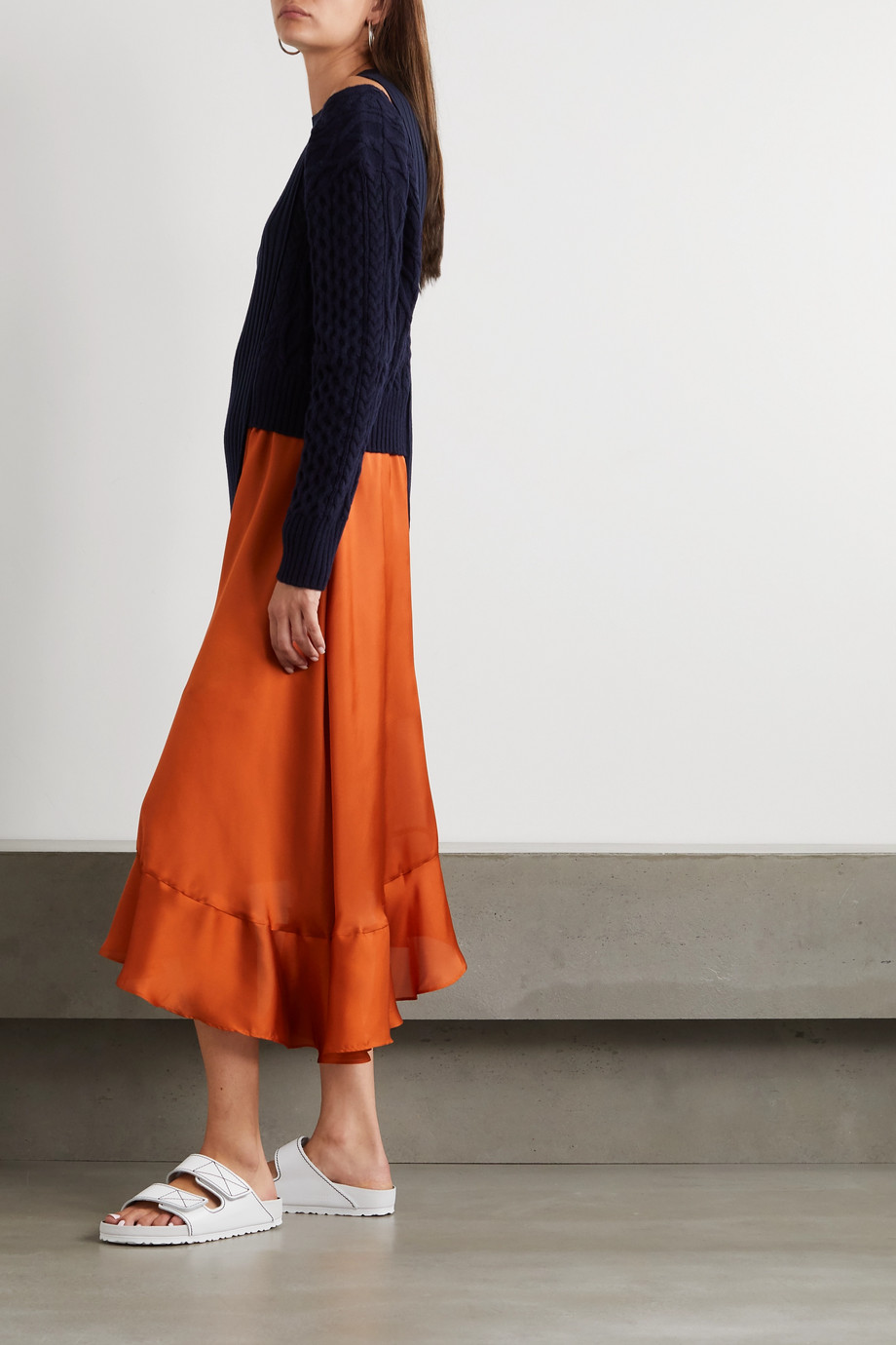 Sacai Asymmetric paneled ribbed and cable-knit wool and satin dress