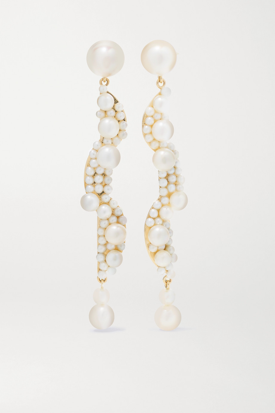 Sophie Bille Brahe Calder Perle 14-karat gold pearl earrings