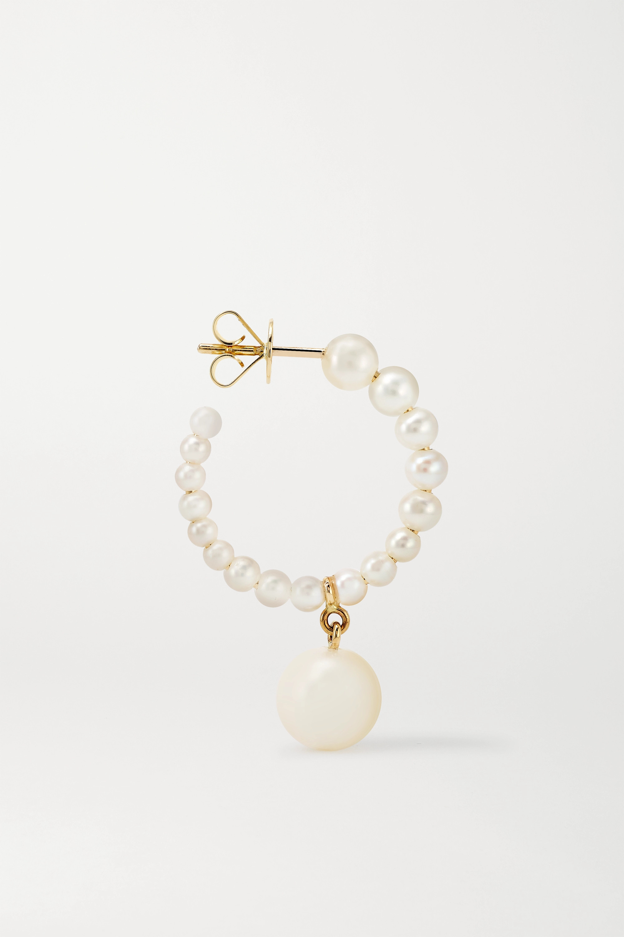 Sophie Bille Brahe Boucle Marco Perle 14-karat gold pearl hoop earrings