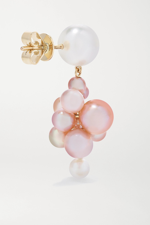 Sophie Bille Brahe Botticelli Rose Ohrringe aus 14 Karat Gold mit Perlen