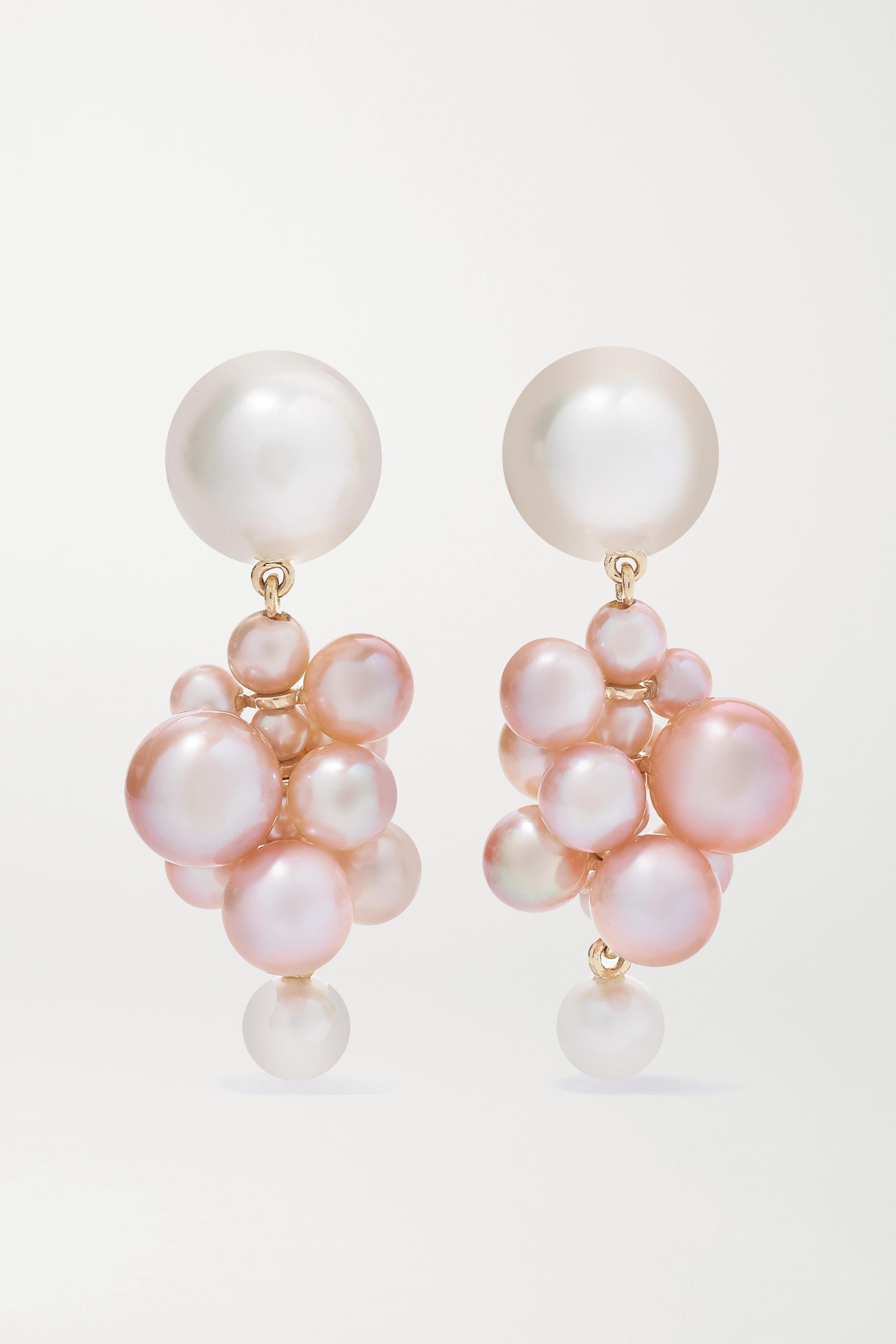 Sophie Bille Brahe Boucles d'oreilles en or 14 carats et perles Botticelli Rose