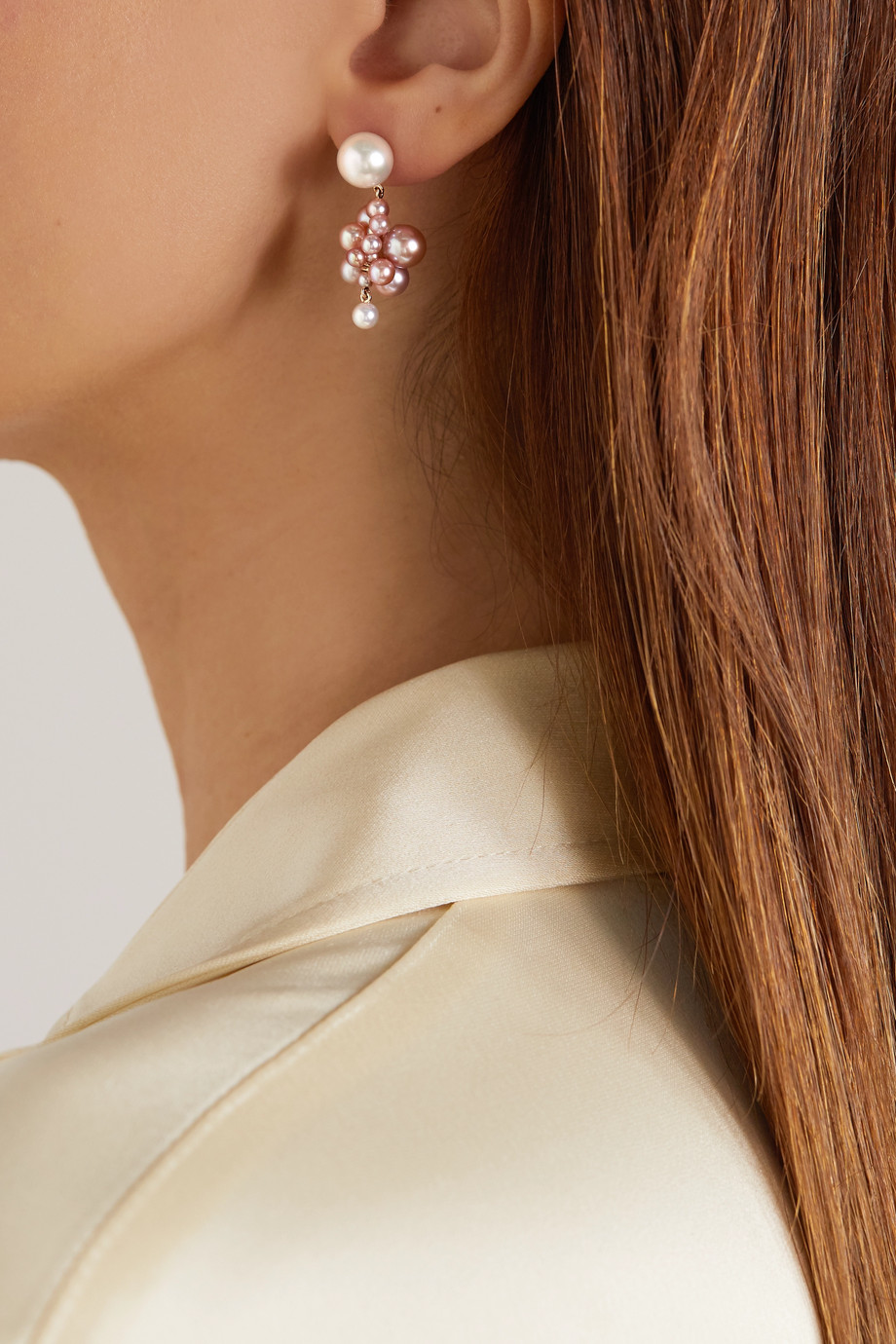 Sophie Bille Brahe Botticelli Rose 14-karat gold pearl earrings