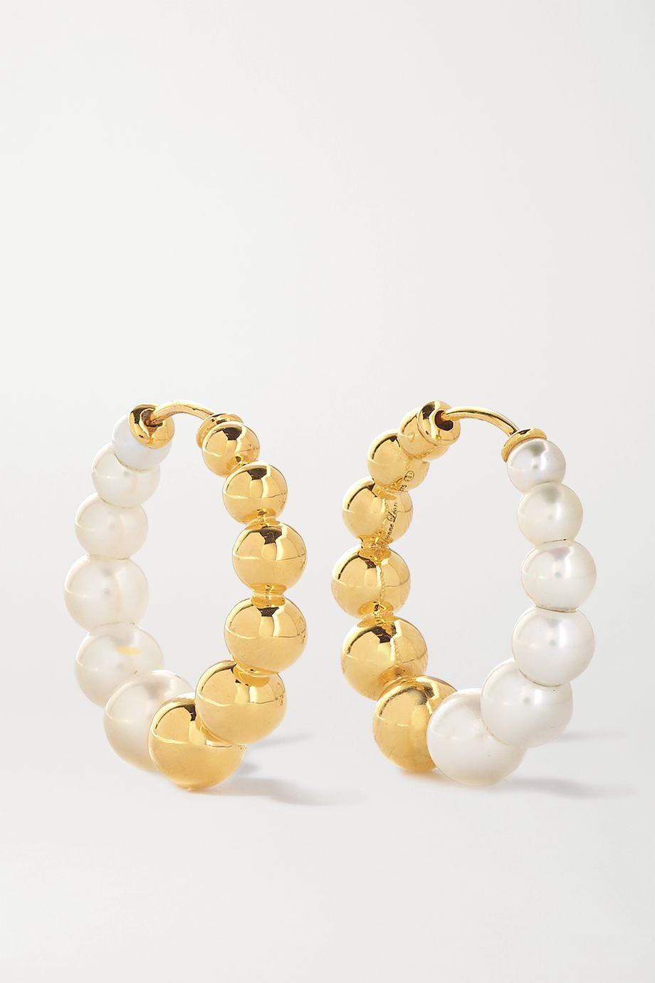 Yvonne Léon 9-karat gold pearl hoop earrings
