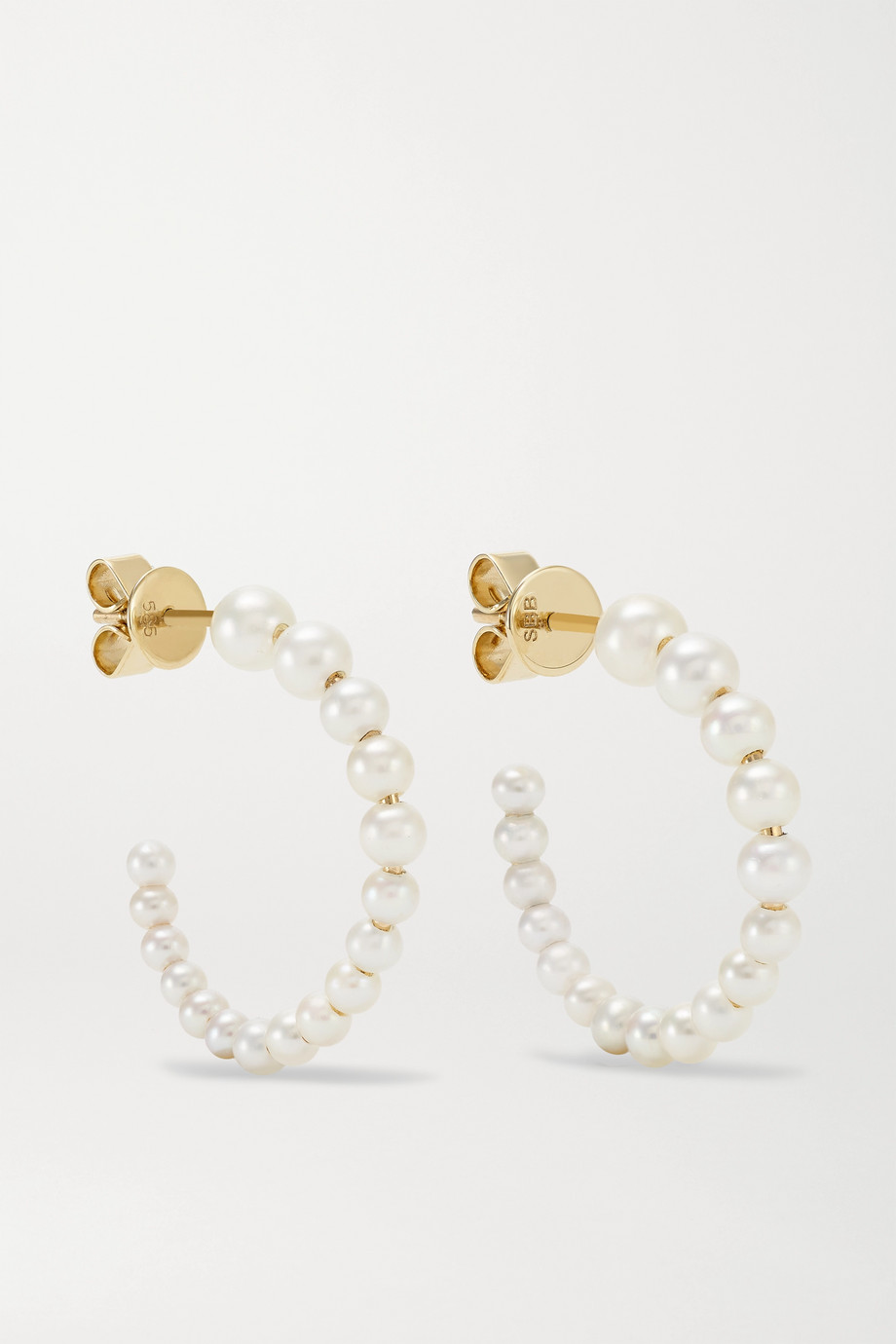 Sophie Bille Brahe Boucle Marco 14-karat gold pearl hoop earrings