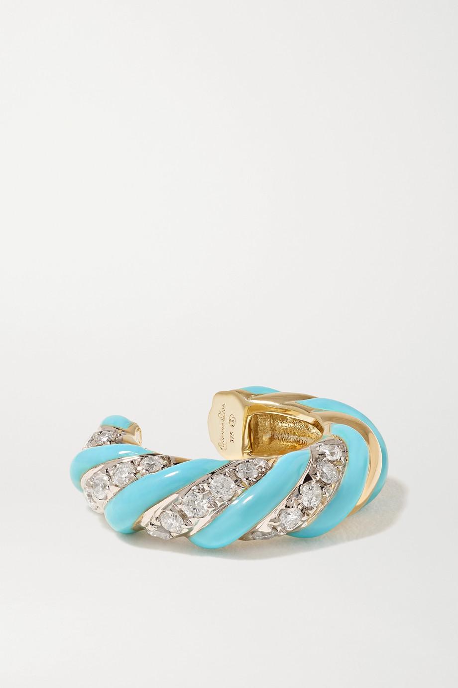 Yvonne Léon 9-karat gold, enamel and diamond ear cuff