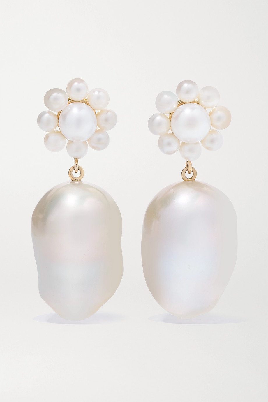 Sophie Bille Brahe Margherita Venus 14-karat gold pearl earrings