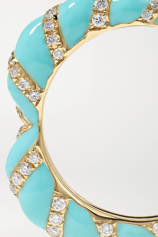 Yvonne Léon Ring aus 9 Karat Gold mit Emaille und Diamanten