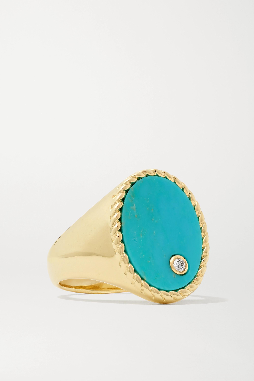 Yvonne Léon Ring aus 9 Karat Gold mit Türkis und Diamant