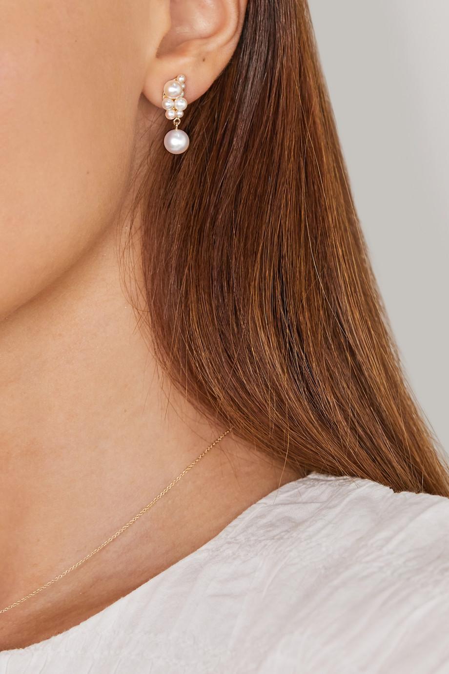 Sophie Bille Brahe Petite Corail Ohrring aus 14 Karat Gold mit Perlen
