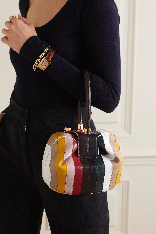 Gabriela Hearst Nina 条纹皮革手提包
