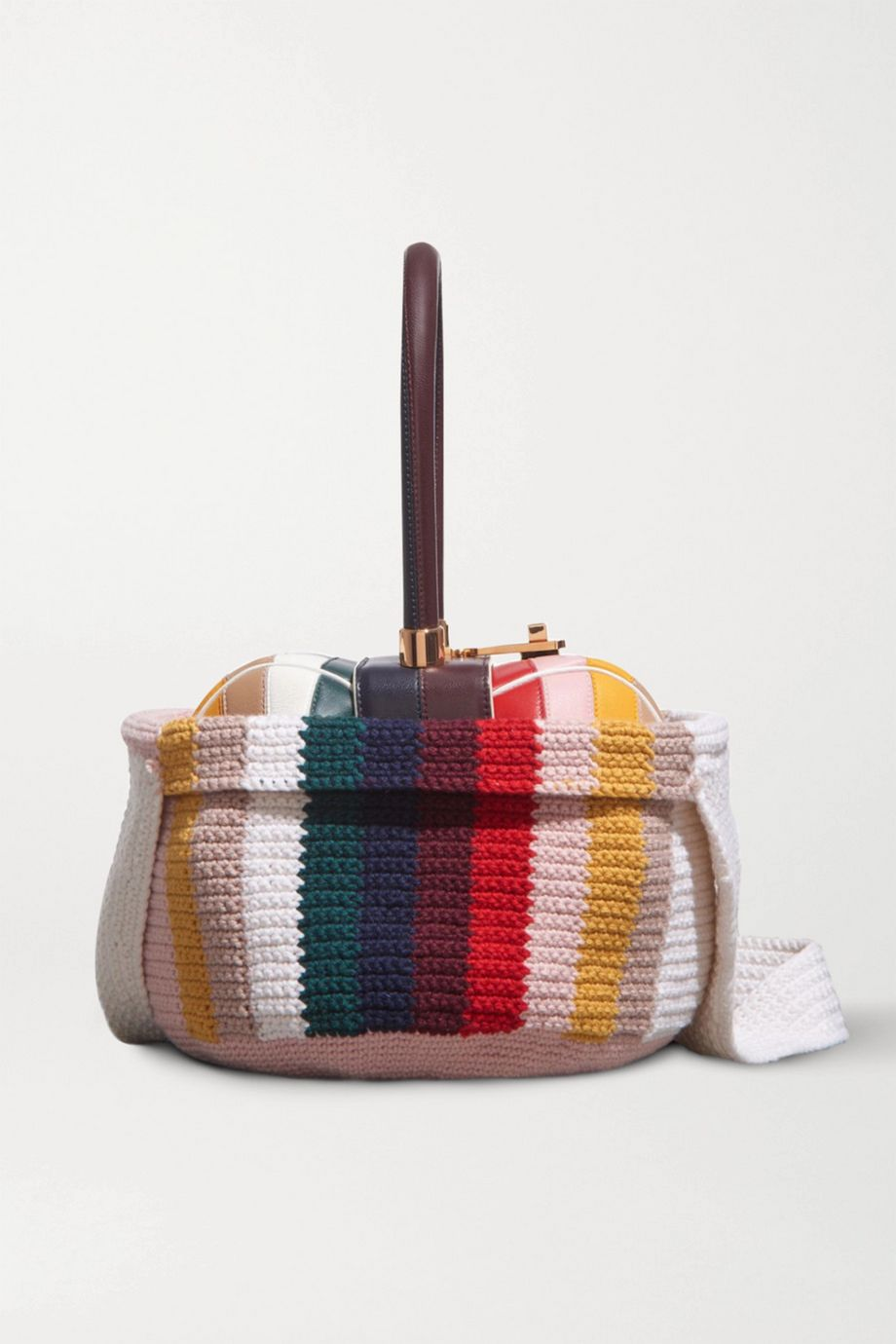 Gabriela Hearst Nina striped crocheted cashmere tote cover