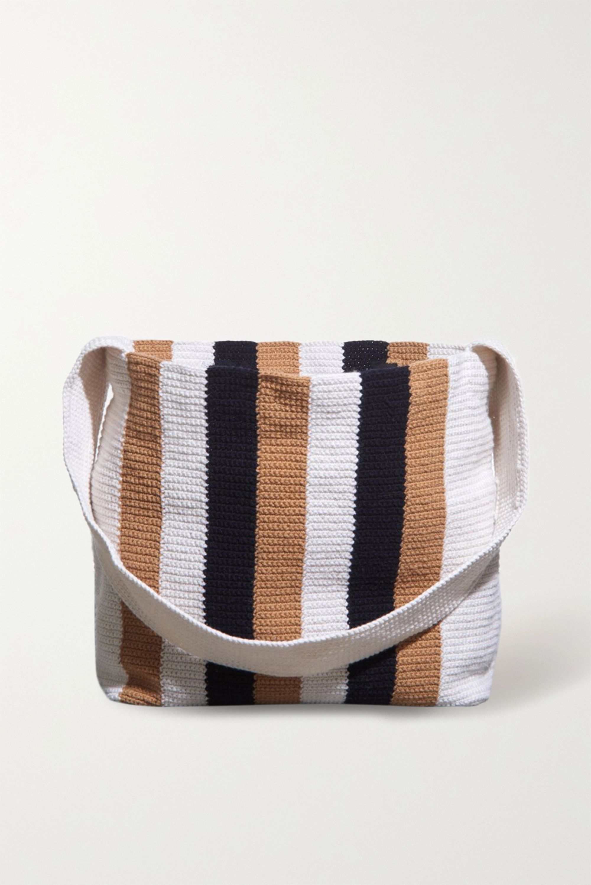 Gabriela Hearst Vevers striped crocheted cashmere tote cover
