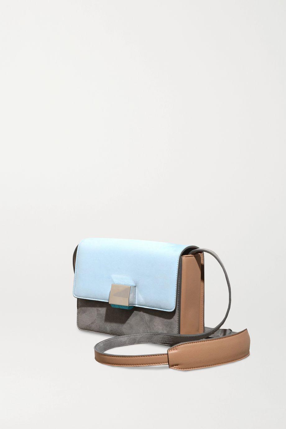 Gabriela Hearst Mercedes color-block leather-trimmed suede shoulder bag