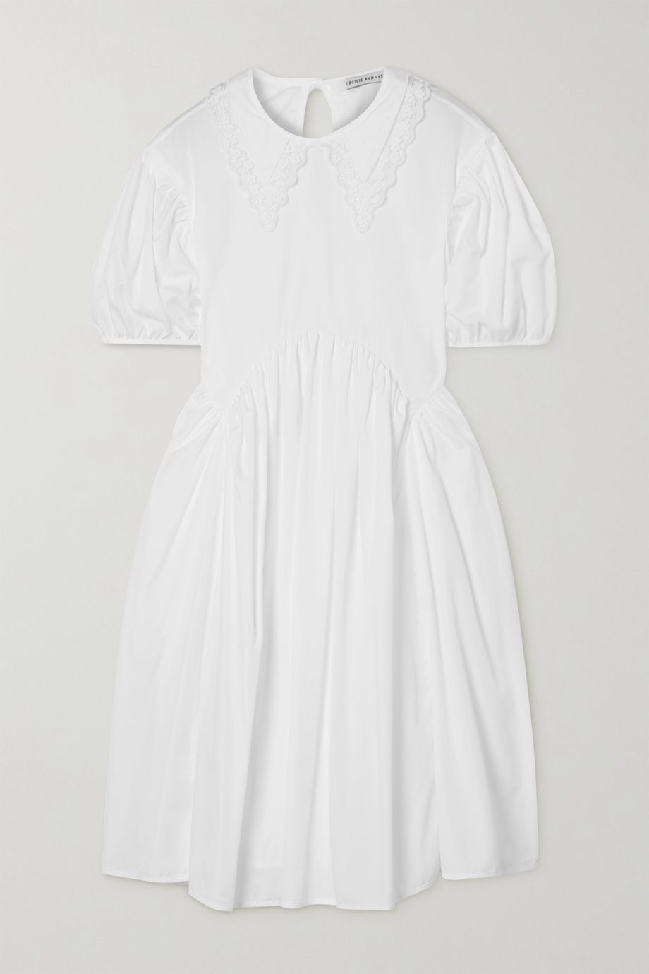 Cecilie Bahnsen Malou embroidered tulle-trimmed cotton-poplin dress