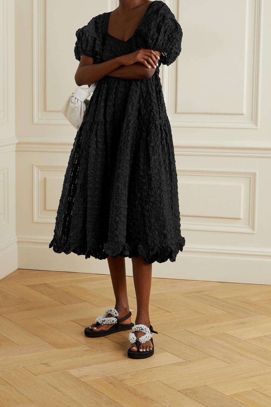 Cecilie Bahnsen Maya open-back wrap-effect seersucker midi dress