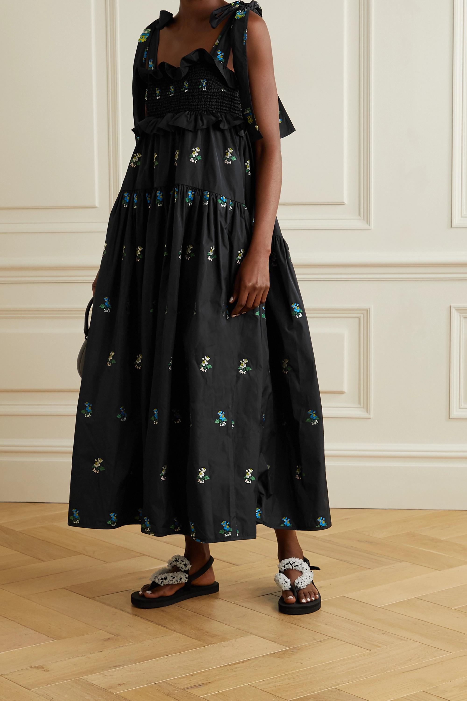 Cecilie Bahnsen Mika ruffled embroidered taffeta midi dress