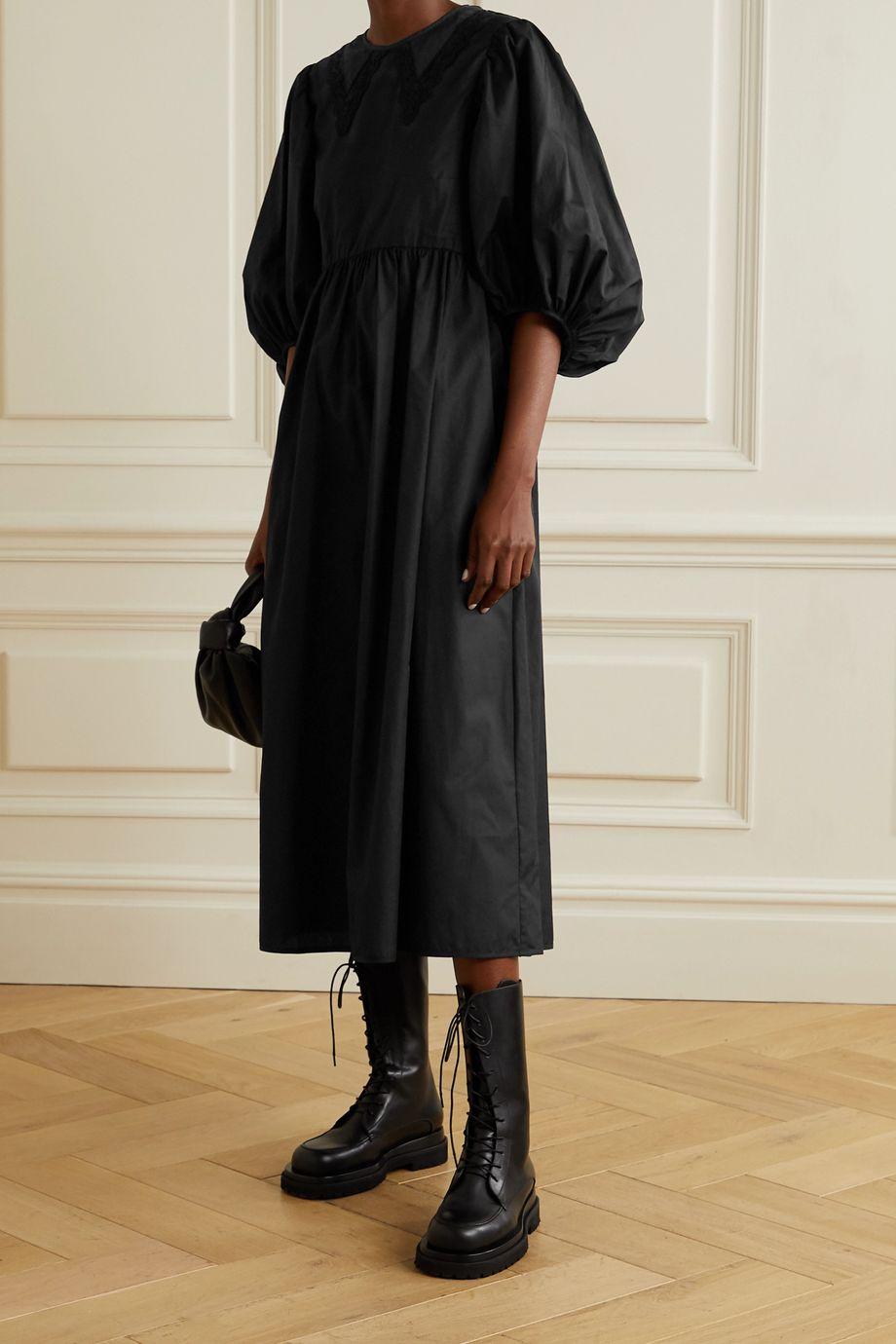 Cecilie Bahnsen Mette gathered cotton-poplin midi dress