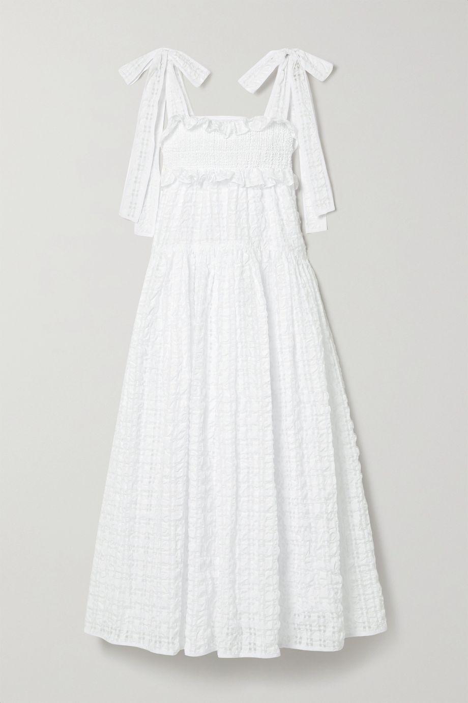 Cecilie Bahnsen Mika ruffled seersucker midi dress