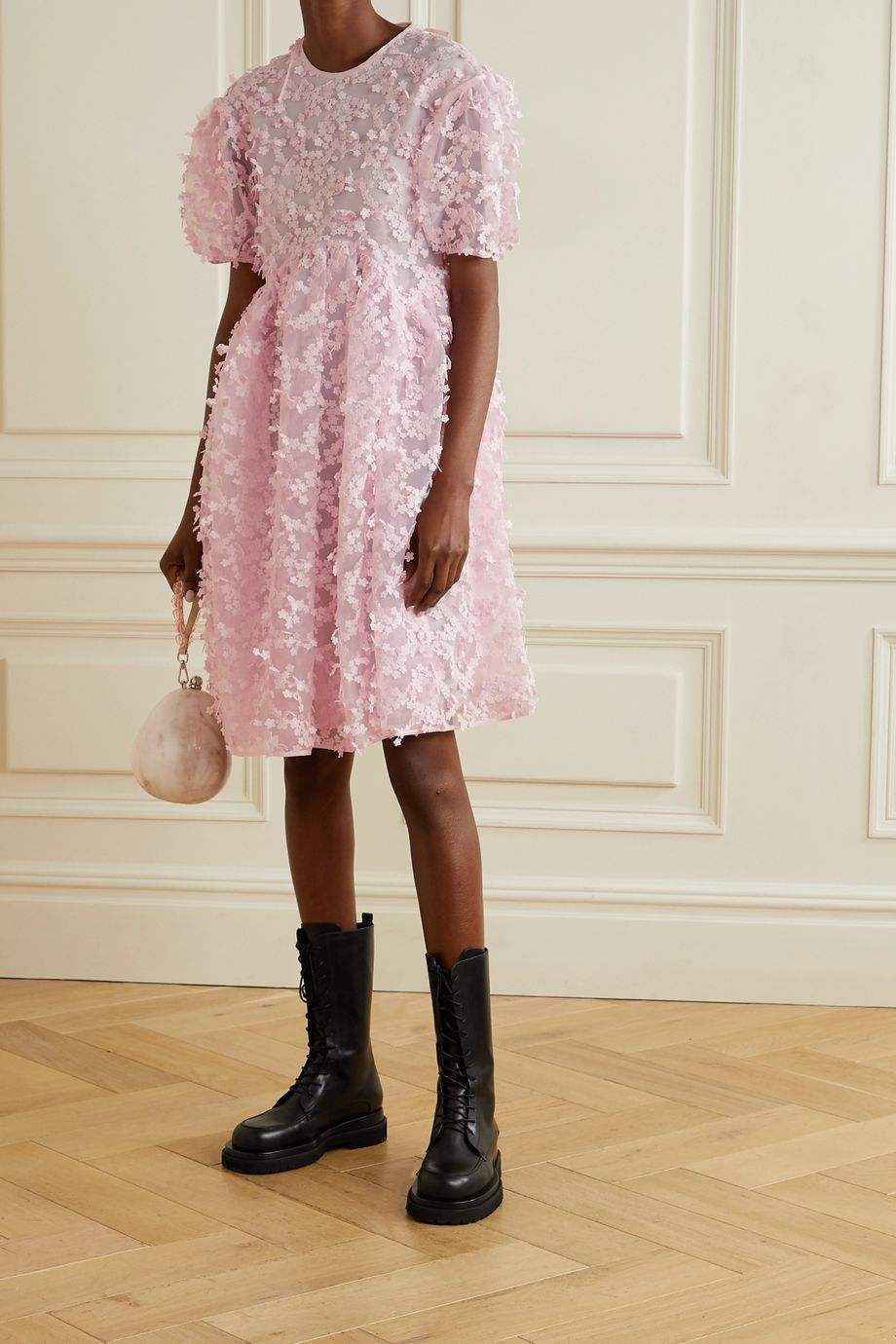 Cecilie Bahnsen Tira appliquéd organza dress