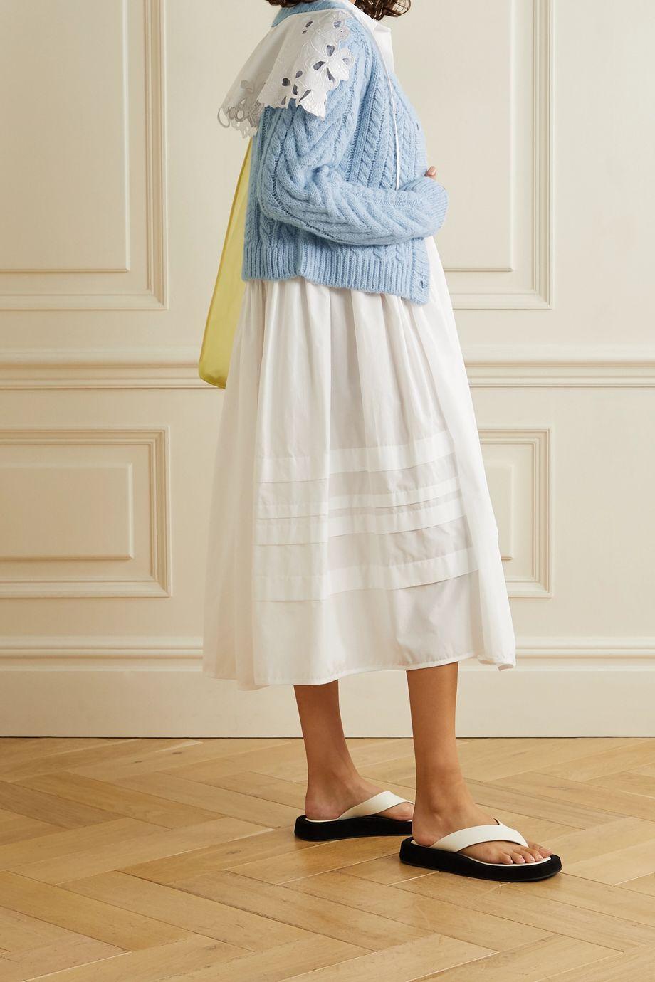 Cecilie Bahnsen Milo poplin-trimmed cable-knit merino wool-blend cardigan