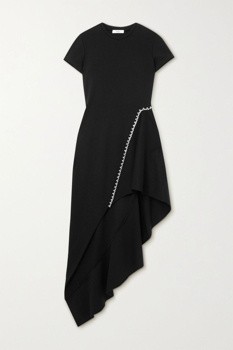 AREA Asymmetrisches Kleid aus Webstoff mit Kristallen