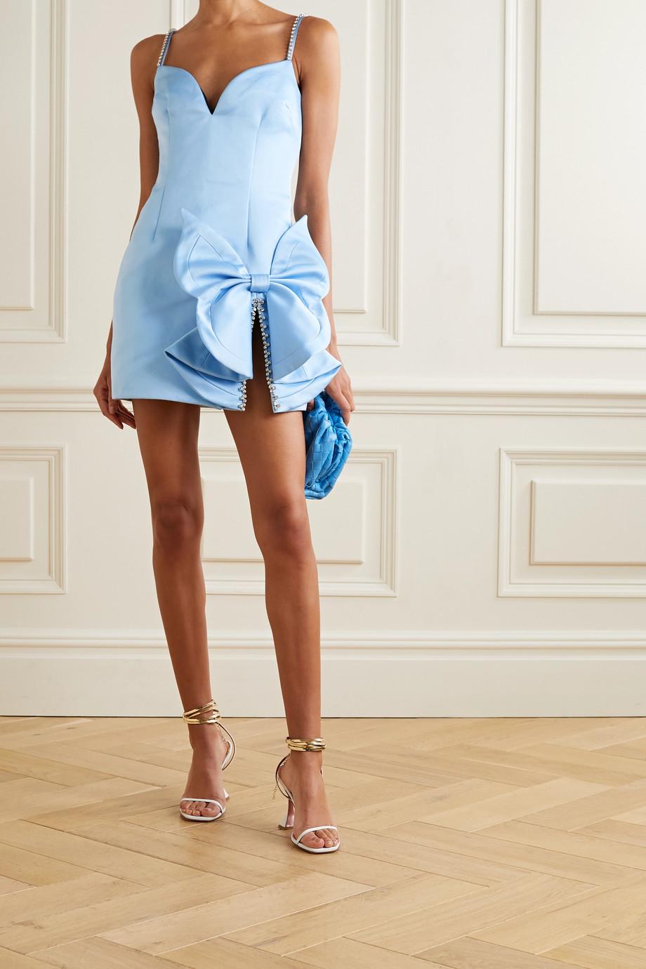 AREA Embellished satin mini dress