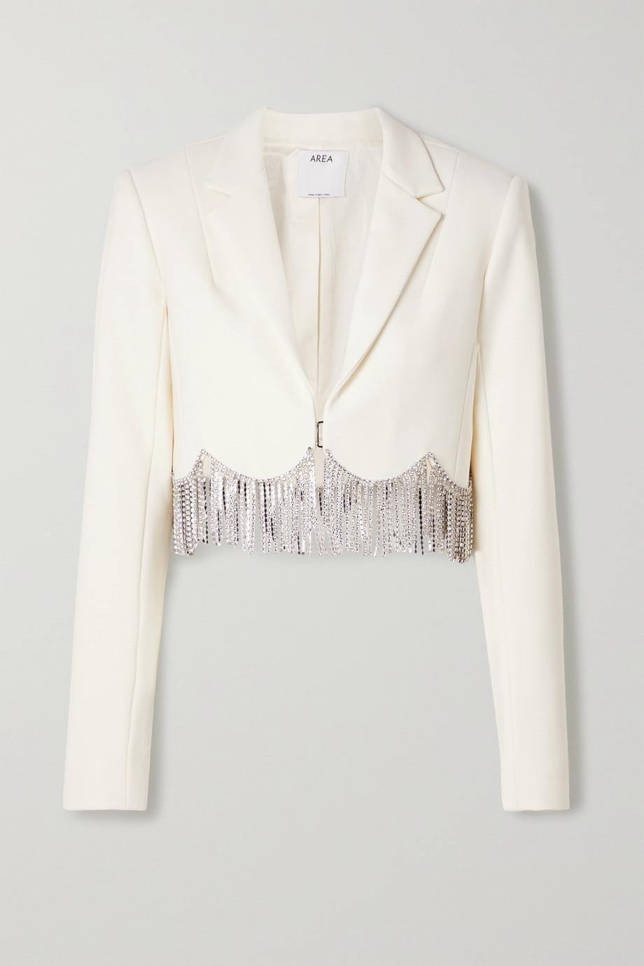 AREA Crystal-embellished cropped crepe blazer
