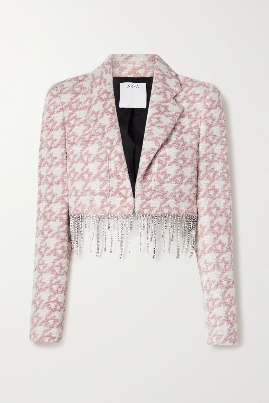 AREA Cropped crystal-embellished metallic houndstooth tweed blazer