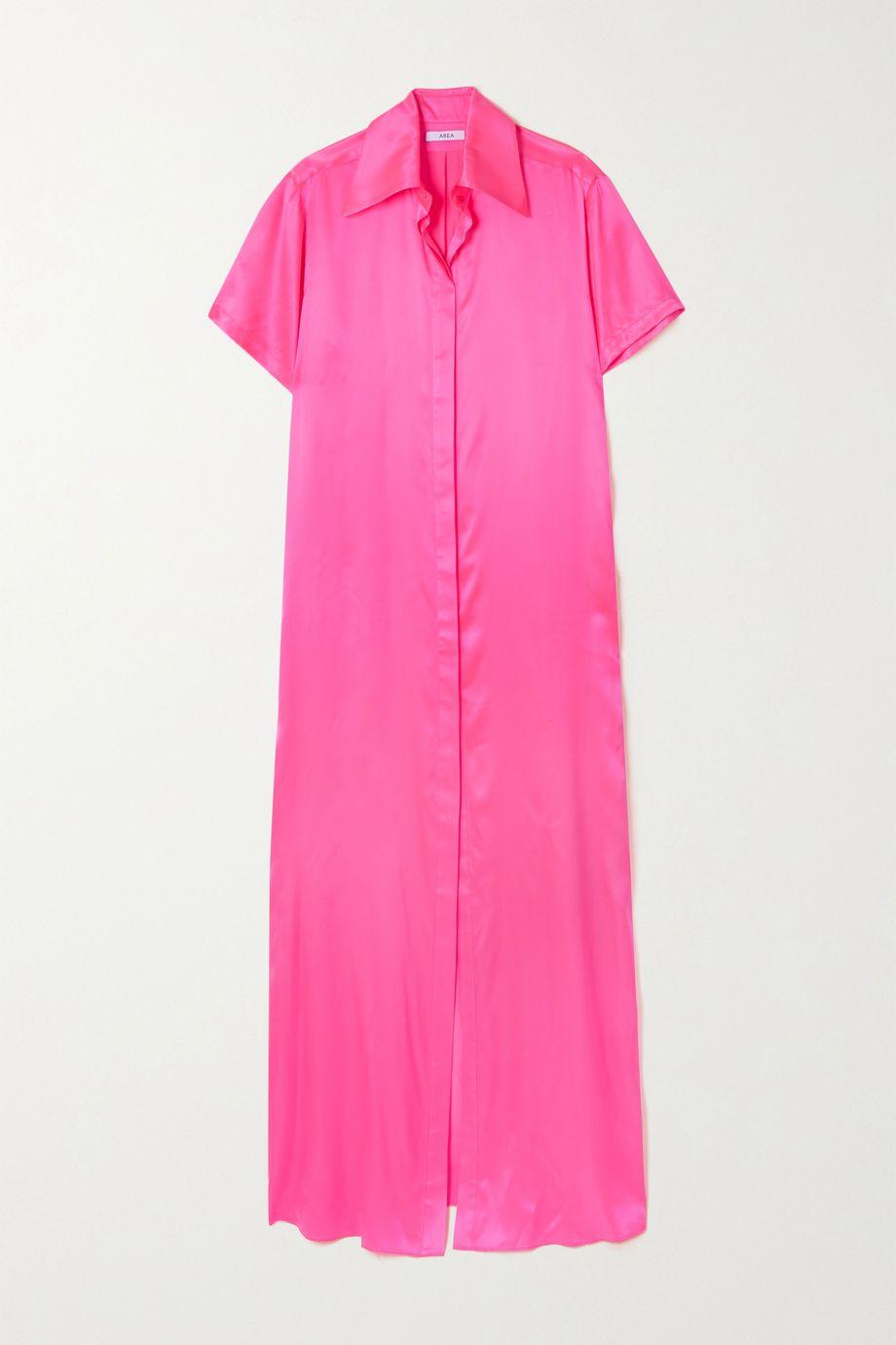 AREA Neon silk-satin maxi shirt dress