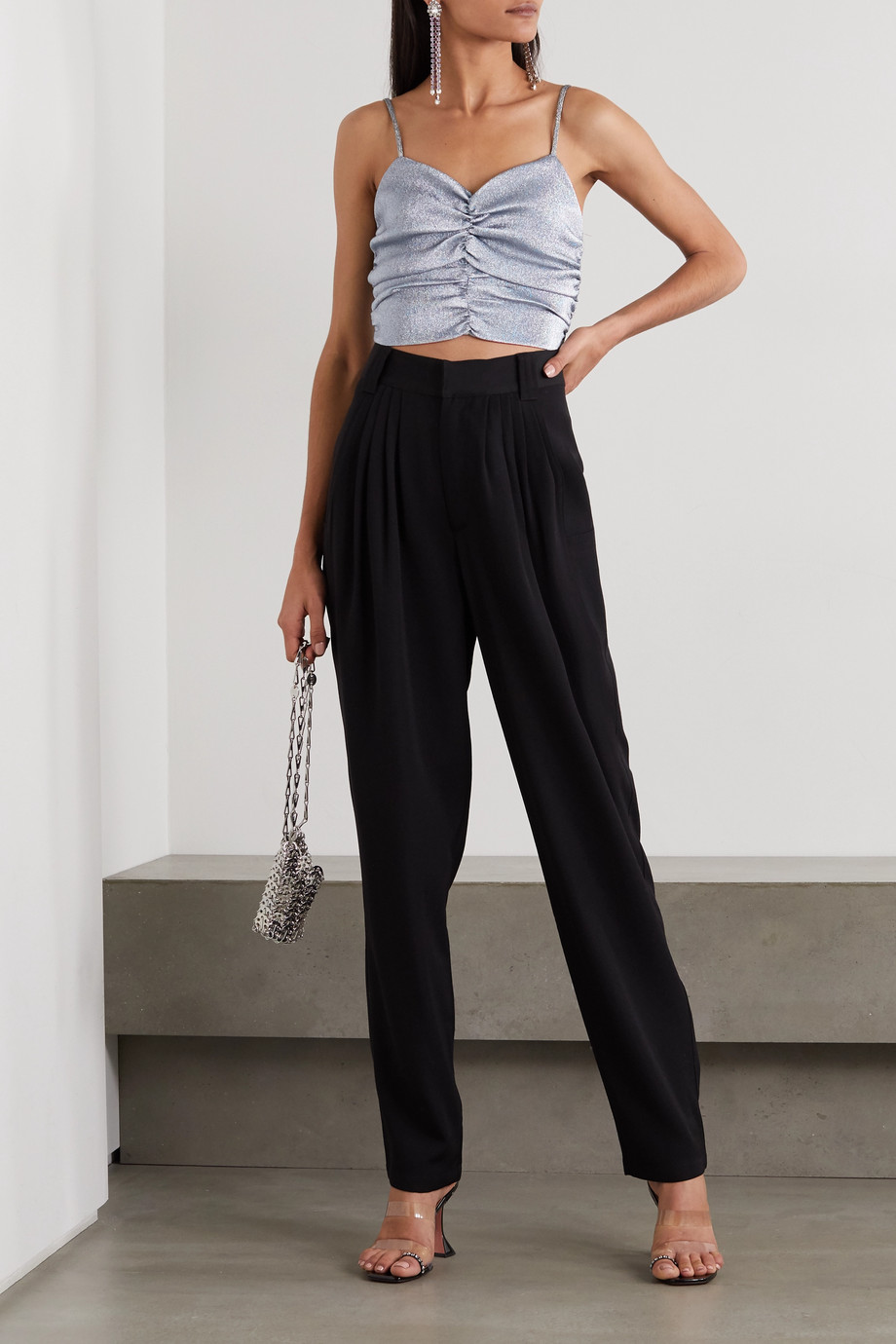 AREA Cropped ruched metallic knitted camisole