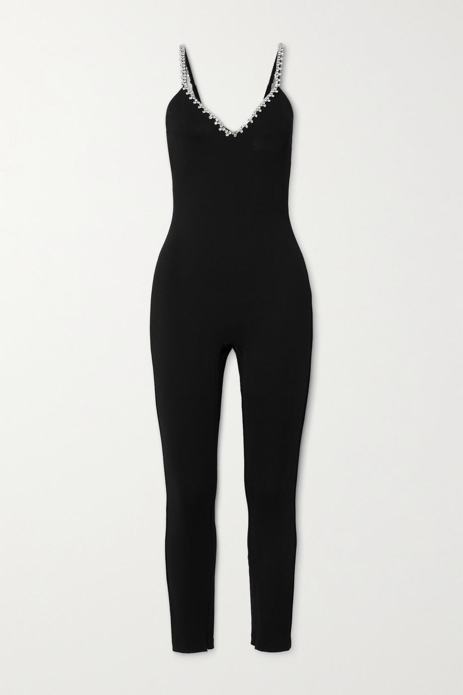 AREA Crystal-embellished stretch-crepe jumpsuit