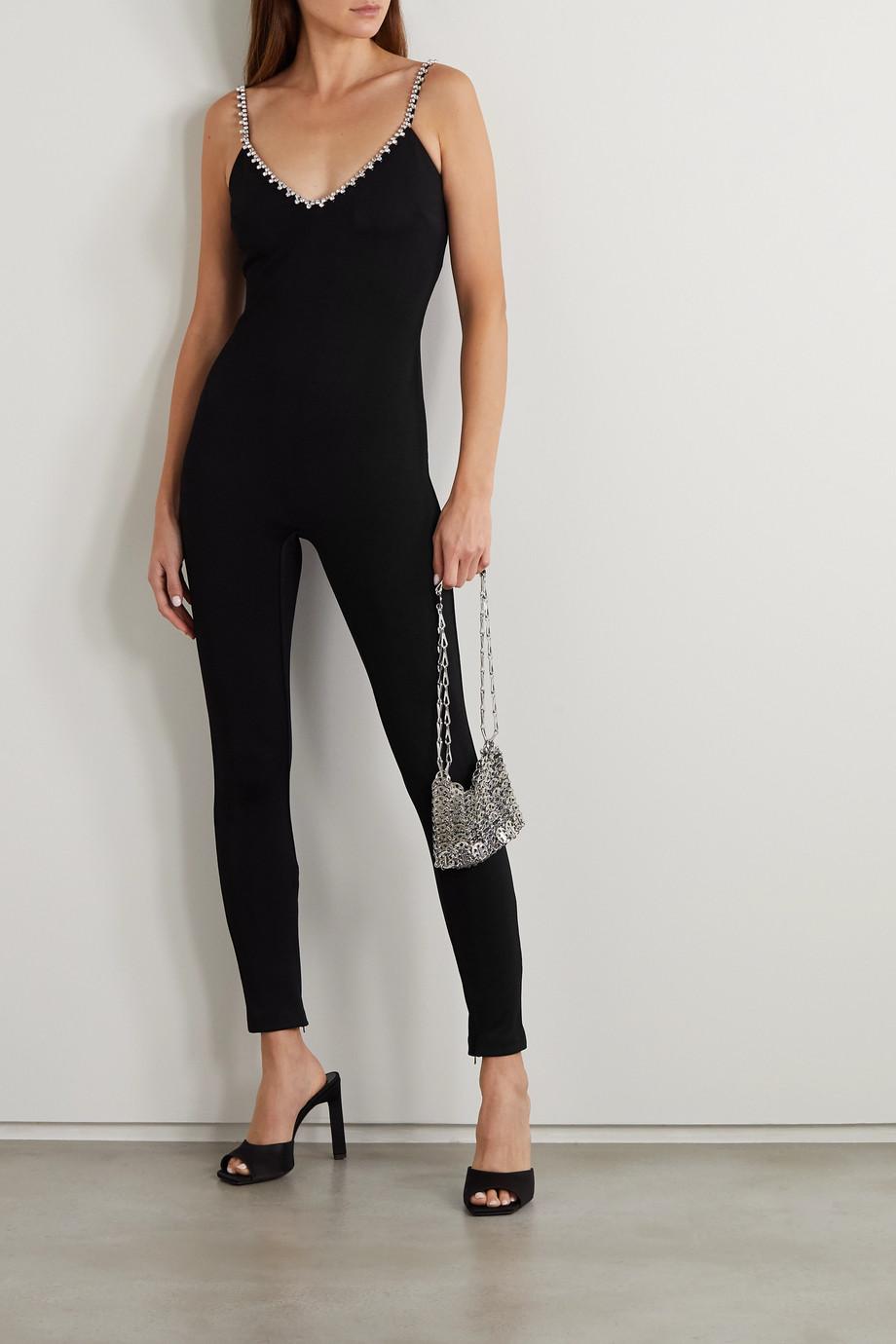 AREA Jumpsuit aus Stretch-Crêpe mit Kristallen
