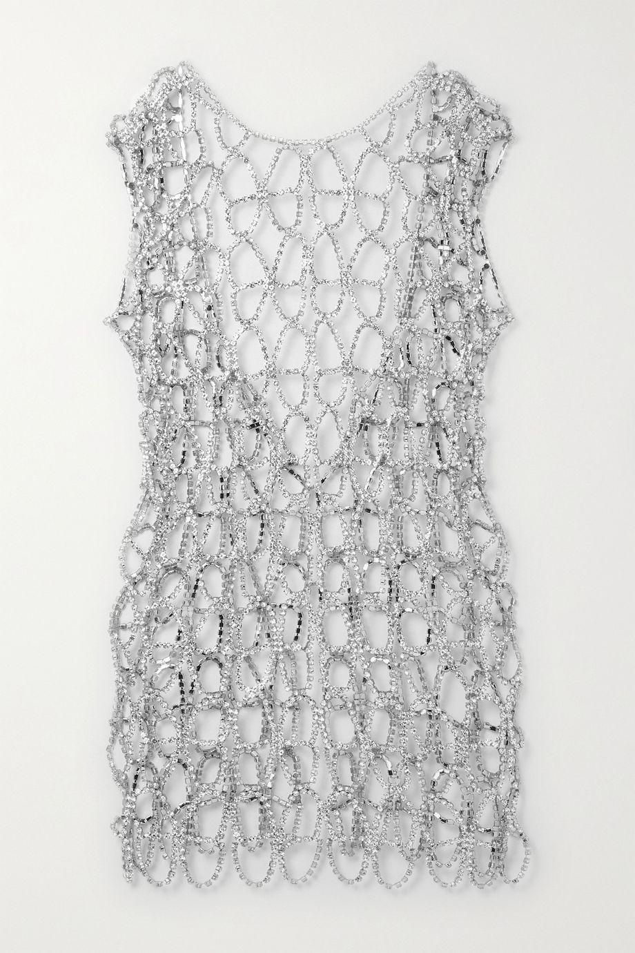 AREA Silver-tone crystal mini dress
