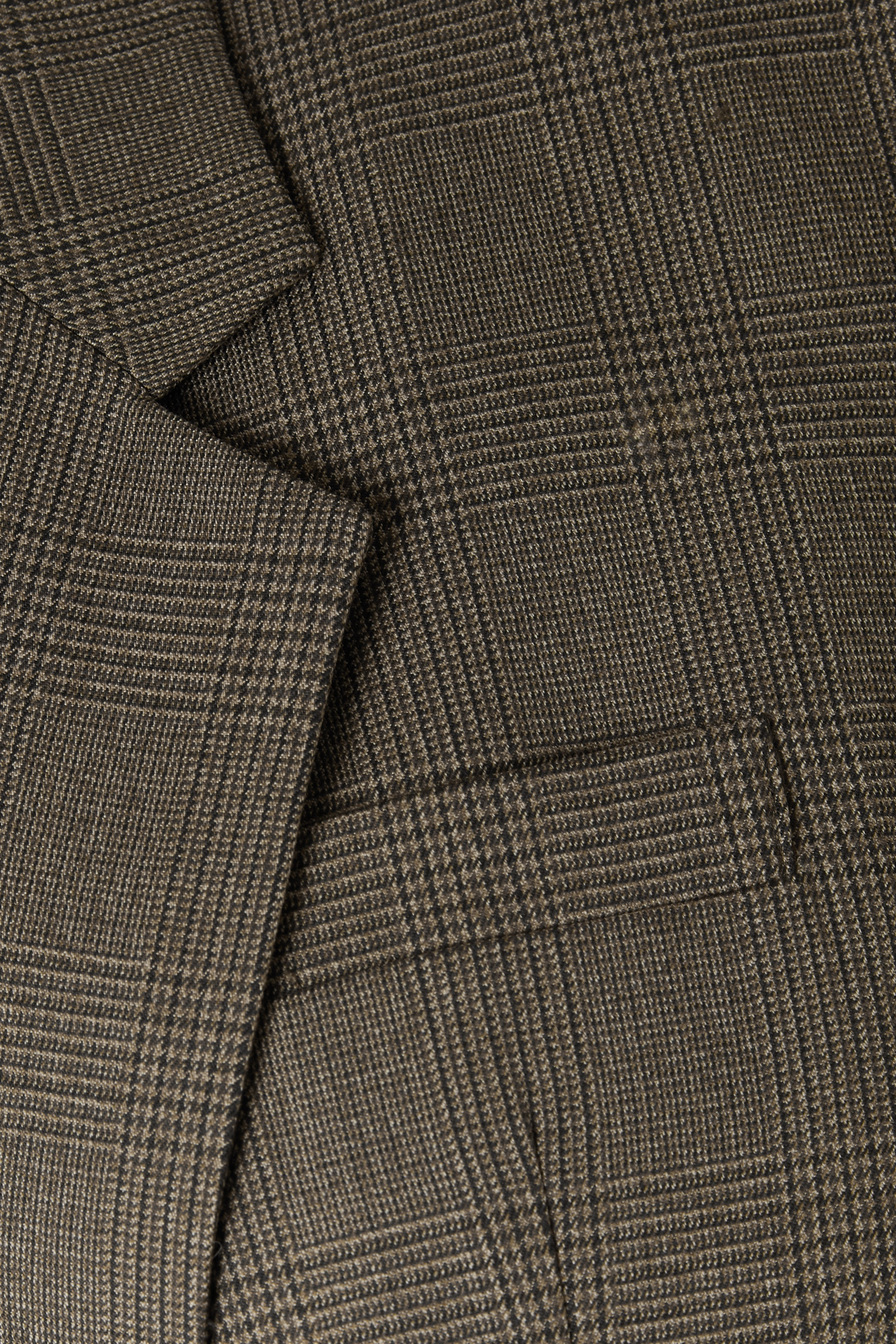 Army Green Paneled Prince Of Wales Checked Wool-blend And Cotton Blazer | Pushbutton