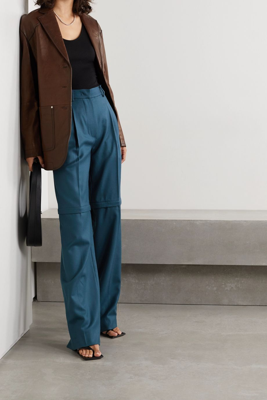 Pushbutton Convertible pleated wool-twill straight-leg pants