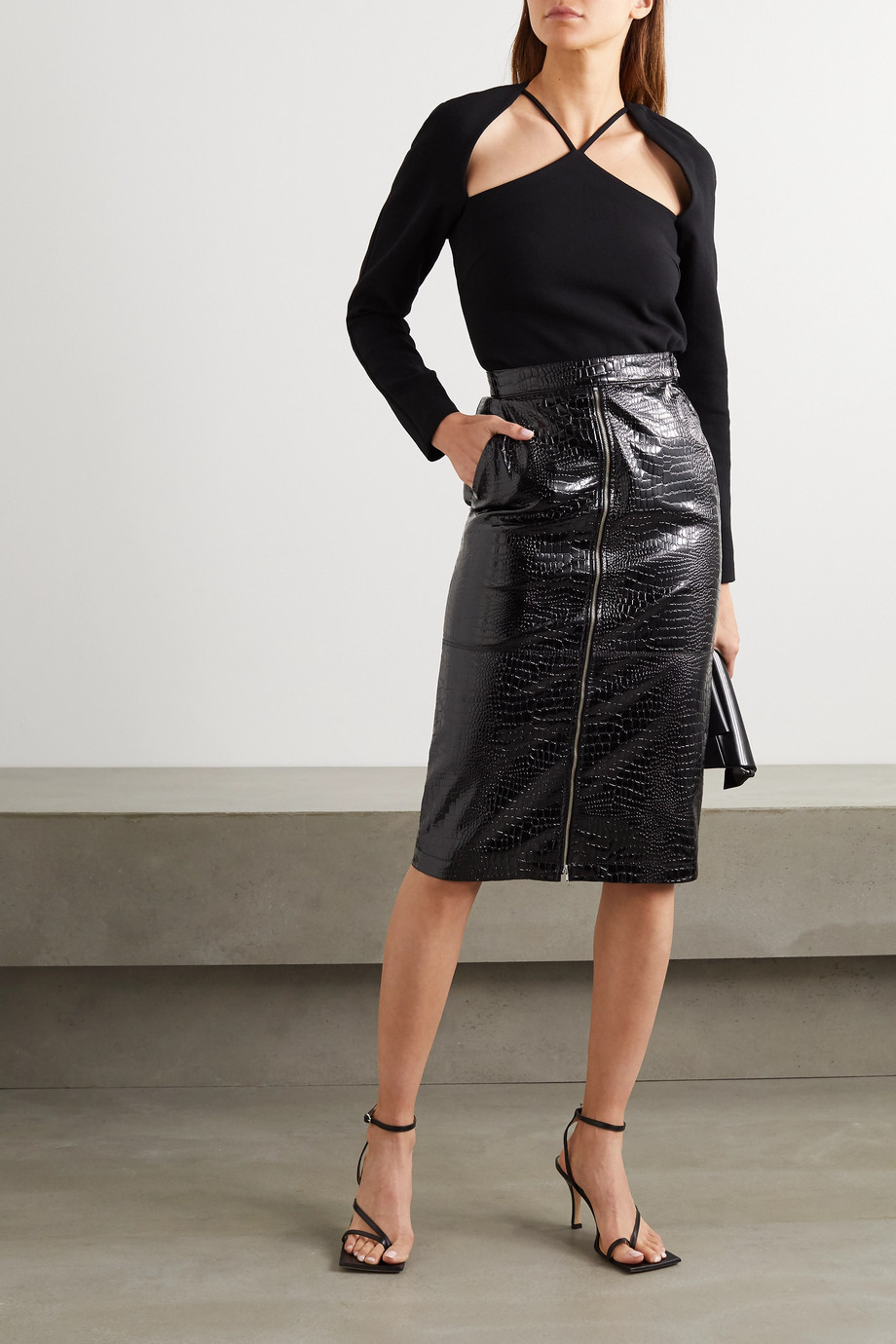 Pushbutton Croc-effect faux patent-leather midi skirt