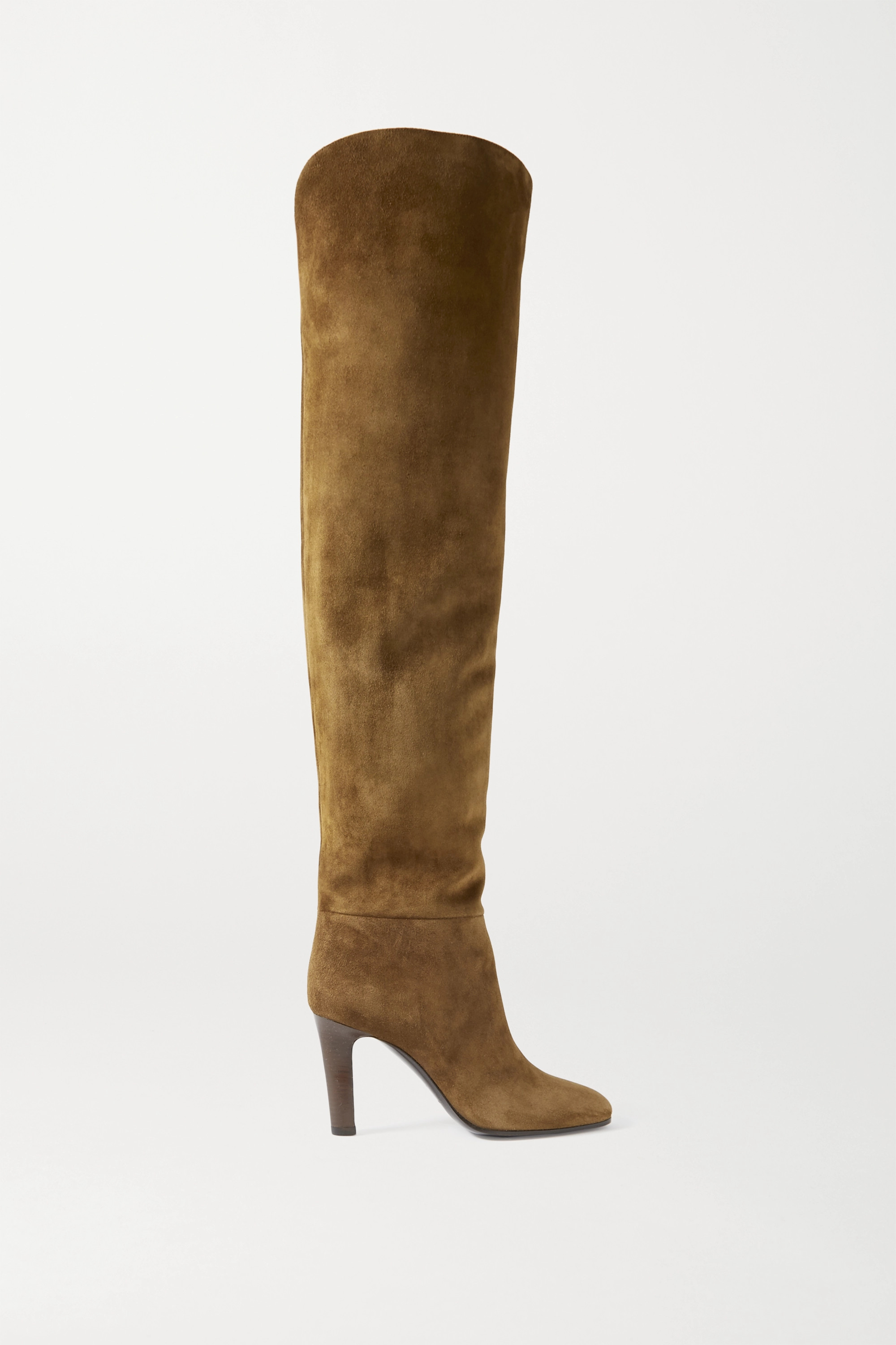 SAINT LAURENT Blu suede over-the-knee boots