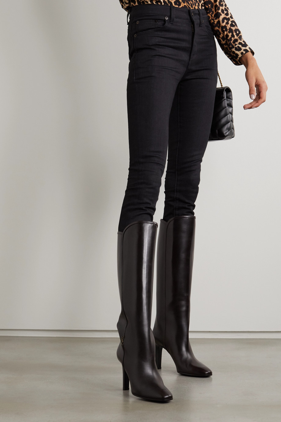 SAINT LAURENT Blu embellished leather knee boots